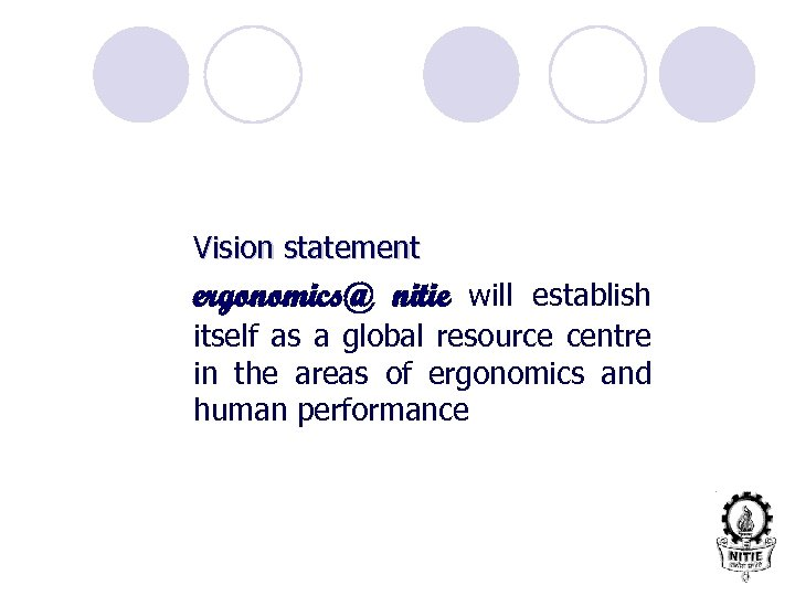 Vision statement ergonomics@ nitie will establish itself as a global resource centre in the