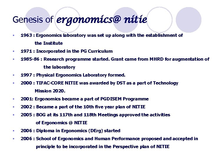 Genesis of ergonomics@ nitie § 1963 : Ergonomics laboratory was set up along with