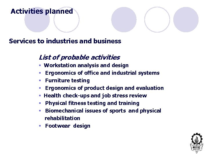 Activities planned Services to industries and business List of probable activities Workstation analysis and