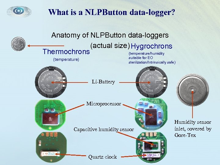 What is a NLPButton data-logger? Anatomy of NLPButton data-loggers (actual size) Hygrochrons Thermochrons (temperature/humidity