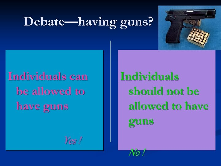 Debate—having guns? Individuals can be allowed to have guns Yes ! Individuals should not