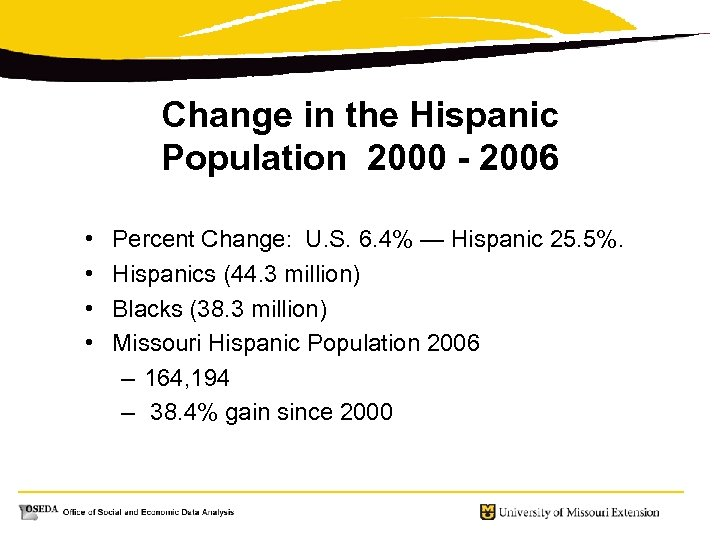 Change in the Hispanic Population 2000 - 2006 • • Percent Change: U. S.
