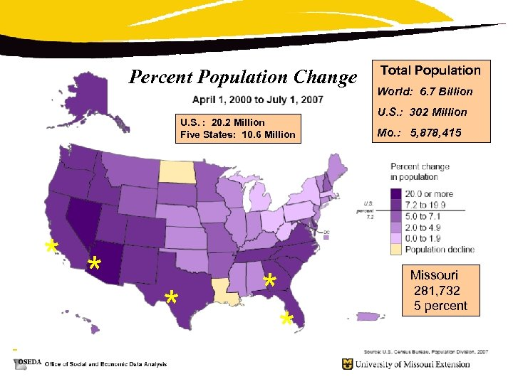 Percent Population Change U. S. : 20. 2 Million Five States: 10. 6 Million