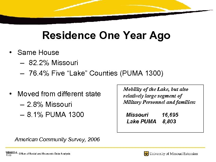 Residence One Year Ago • Same House – 82. 2% Missouri – 76. 4%