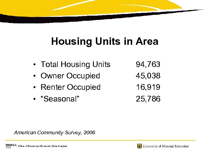 "Housing Units in Area • • Total Housing Units Owner Occupied Renter Occupied ""Seasonal"""