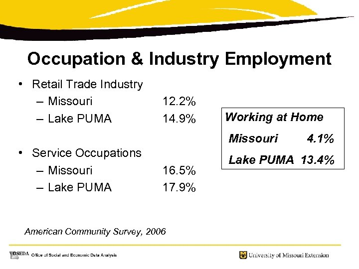 Occupation & Industry Employment • Retail Trade Industry – Missouri – Lake PUMA 12.