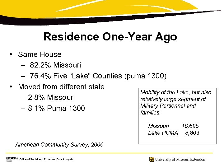 Residence One-Year Ago • Same House – 82. 2% Missouri – 76. 4% Five