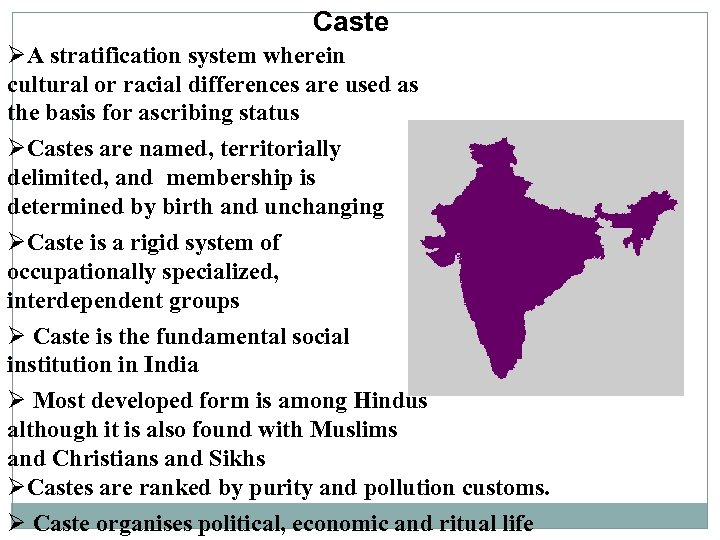 Caste ØA stratification system wherein cultural or racial differences are used as the basis