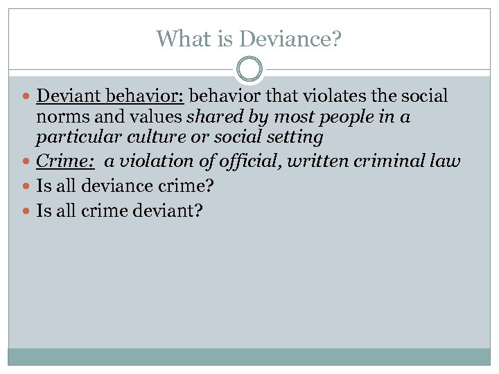 What is Deviance? Deviant behavior: behavior that violates the social norms and values shared