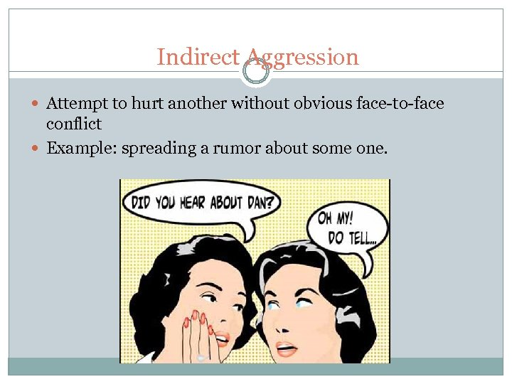 Indirect Aggression Attempt to hurt another without obvious face-to-face conflict Example: spreading a rumor