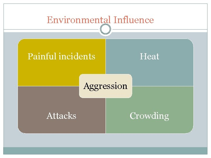 Environmental Influence Painful incidents Heat Aggression Attacks Crowding
