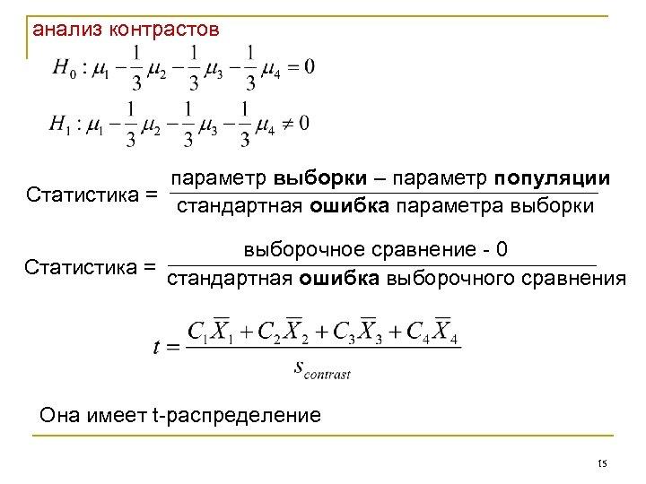 анализ контрастов параметр выборки – параметр популяции Статистика = стандартная ошибка параметра выборки выборочное