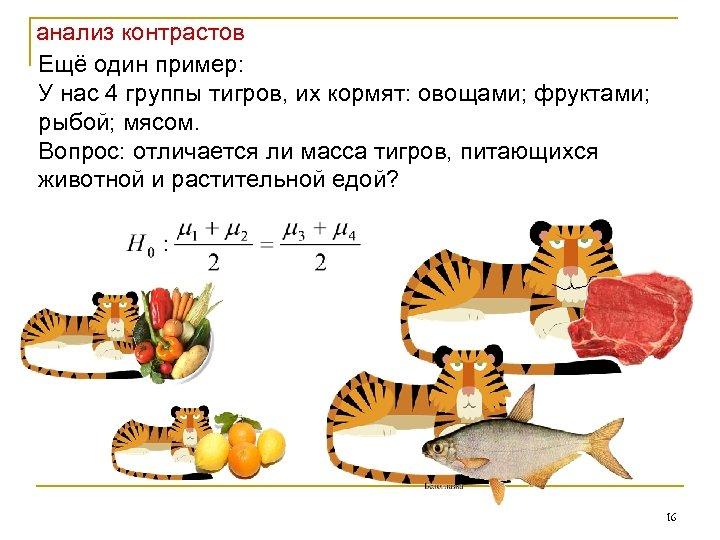 анализ контрастов Ещё один пример: У нас 4 группы тигров, их кормят: овощами; фруктами;