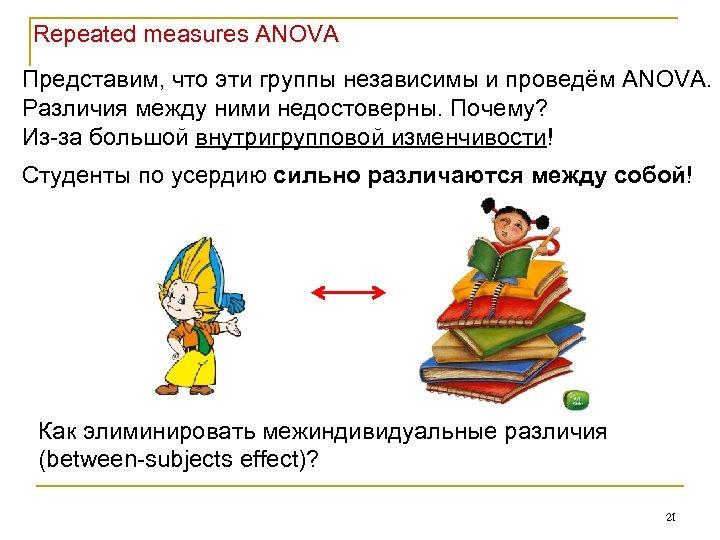 Repeated measures ANOVA Представим, что эти группы независимы и проведём ANOVA. Различия между ними