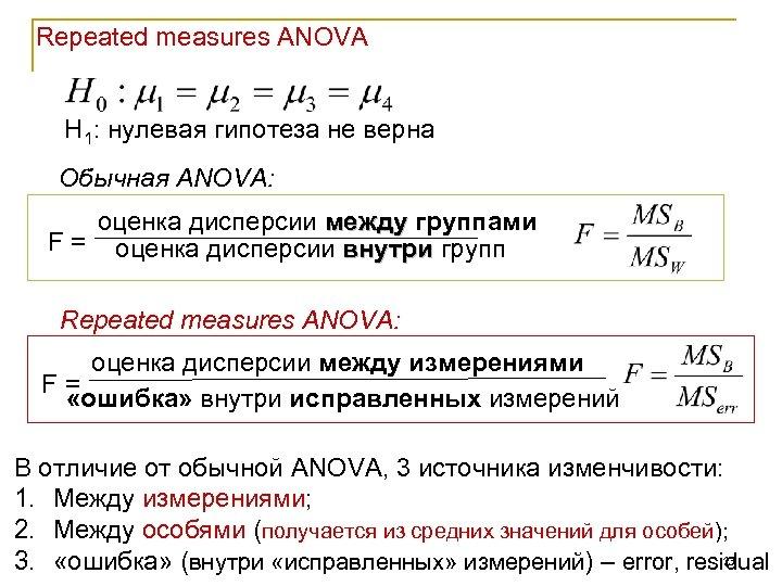 Repeated measures ANOVA Н 1: нулевая гипотеза не верна Обычная ANOVA: оценка дисперсии между