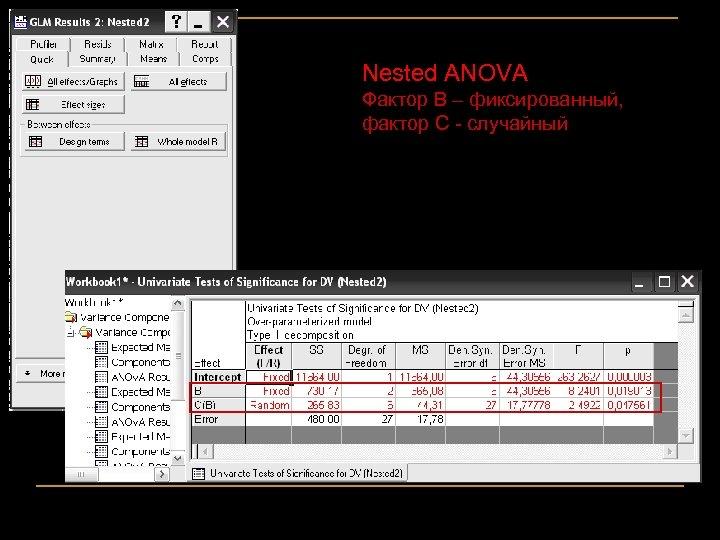 Nested ANOVA Фактор В – фиксированный, фактор С - случайный 61