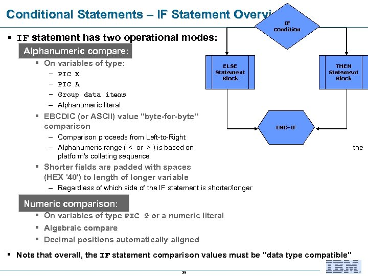 Conditional Statements – IF Statement Overview § IF statement has two operational modes: IF