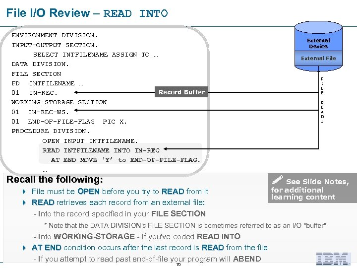 File I/O Review – READ INTO ENVIRONMENT DIVISION. INPUT-OUTPUT SECTION. SELECT INTFILENAME ASSIGN TO