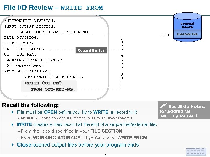 File I/O Review – WRITE FROM ENVIRONMENT DIVISION. INPUT-OUTPUT SECTION. SELECT OUTFILENAME ASSIGN TO