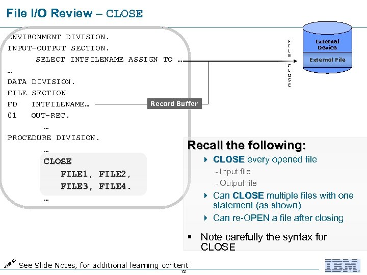 File I/O Review – CLOSE ENVIRONMENT DIVISION. F I INPUT-OUTPUT SECTION. L E SELECT