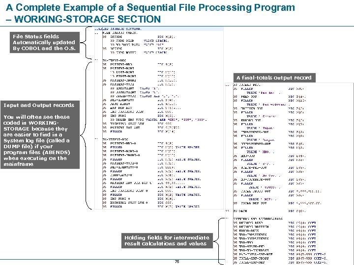 A Complete Example of a Sequential File Processing Program – WORKING-STORAGE SECTION File Status