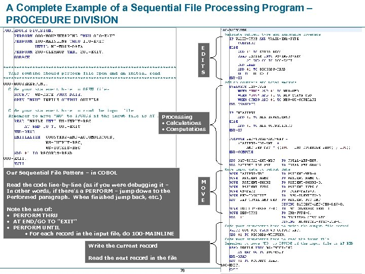A Complete Example of a Sequential File Processing Program – PROCEDURE DIVISION E D