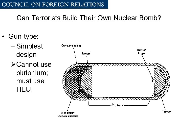 Can Terrorists Build Their Own Nuclear Bomb? • Gun-type: – Simplest design ØCannot use