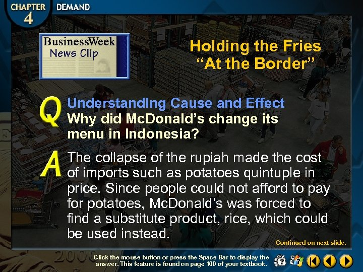 """Holding the Fries """"At the Border"""" Understanding Cause and Effect Why did Mc. Donald's"""