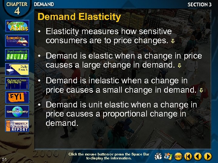 Demand Elasticity • Elasticity measures how sensitive consumers are to price changes. • Demand
