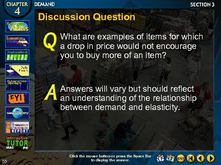 Discussion Question What are examples of items for which a drop in price would