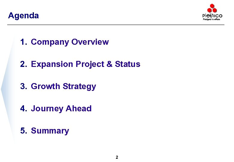 Agenda 1. Company Overview 2. Expansion Project & Status 3. Growth Strategy 4. Journey