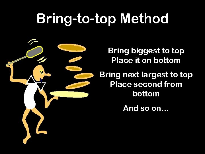 Bring-to-top Method Bring biggest to top Place it on bottom Bring next largest to