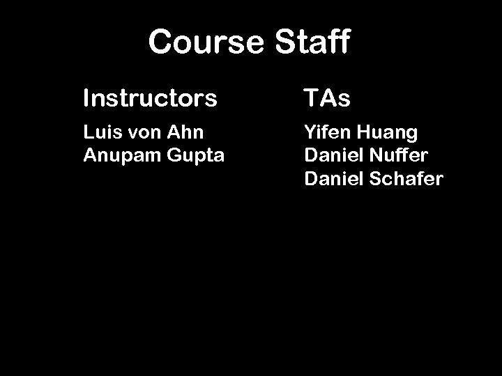 Course Staff Instructors TAs Luis von Ahn Anupam Gupta Yifen Huang Daniel Nuffer Daniel