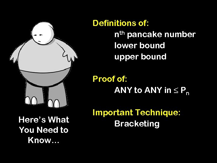 Definitions of: nth pancake number lower bound upper bound Proof of: ANY to ANY