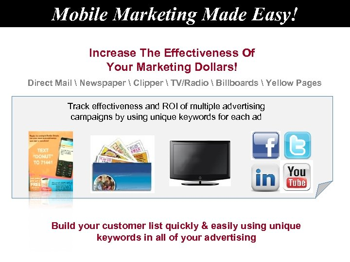 Mobile Marketing Made Easy! Increase The Effectiveness Of Your Marketing Dollars! Direct Mail