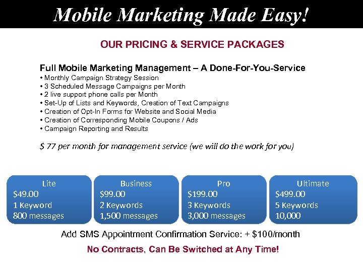 Mobile Marketing Made Easy! OUR PRICING & SERVICE PACKAGES Full Mobile Marketing Management –