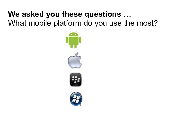 We asked you these questions … What mobile platform do you use the most?