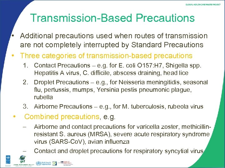 Transmission-Based Precautions • Additional precautions used when routes of transmission are not completely interrupted