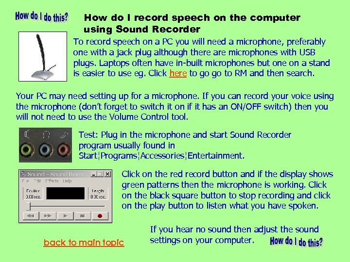 How do I record speech on the computer using Sound Recorder To record speech