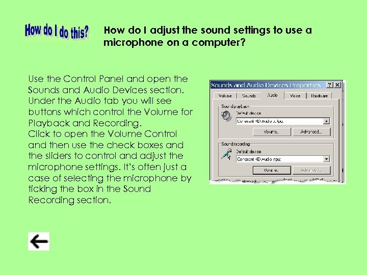 How do I adjust the sound settings to use a microphone on a computer?