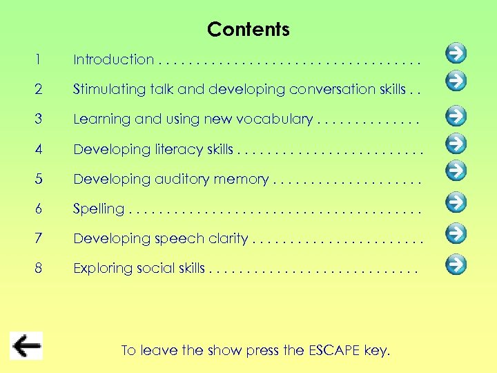Contents 1 Introduction. . . . . 2 Stimulating talk and developing conversation skills.