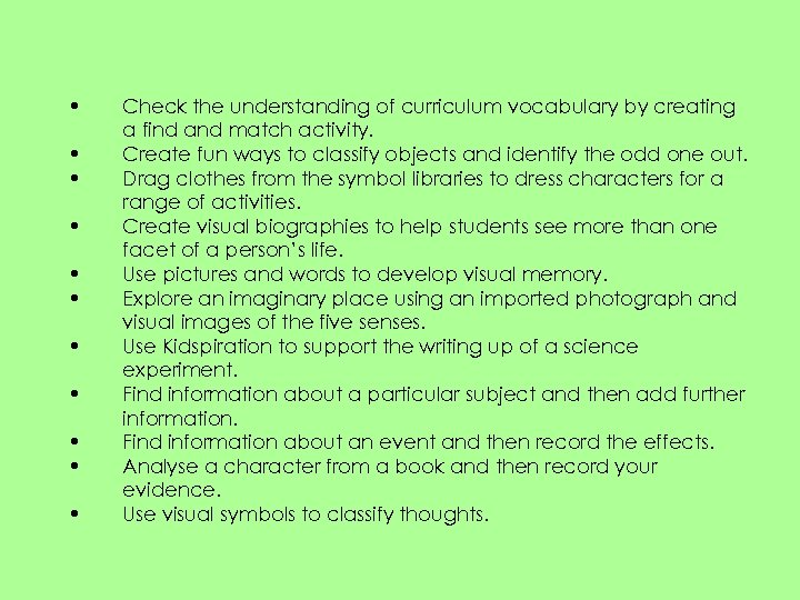 • • • Check the understanding of curriculum vocabulary by creating a find