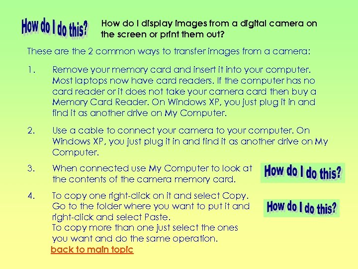 How do I display images from a digital camera on the screen or print