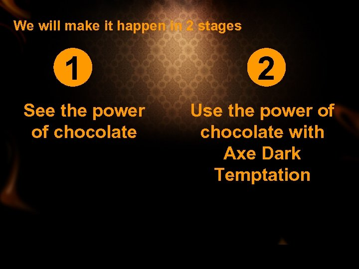 We will make it happen in 2 stages 1 See the power of chocolate