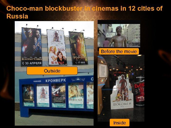 Choco-man blockbuster in cinemas in 12 cities of Russia Before the movie Outside Inside