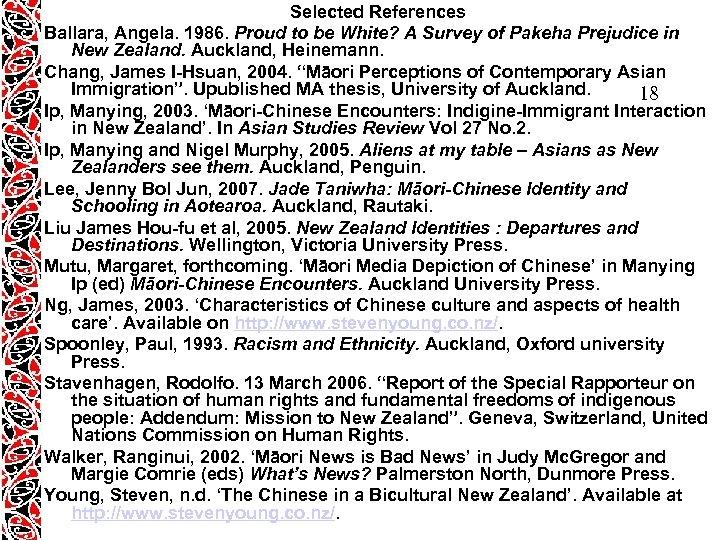 Selected References Ballara, Angela. 1986. Proud to be White? A Survey of Pakeha Prejudice