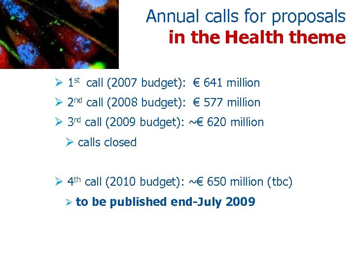 Annual calls for proposals in the Health theme Ø 1 st call (2007 budget):