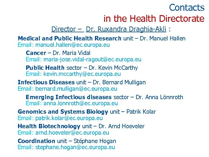 Contacts in the Health Directorate Director – Dr. Ruxandra Draghia-Akli : Medical and Public