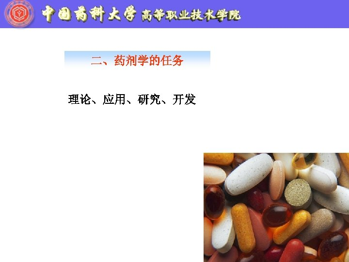 二、药剂学的任务 理论、应用、研究、开发