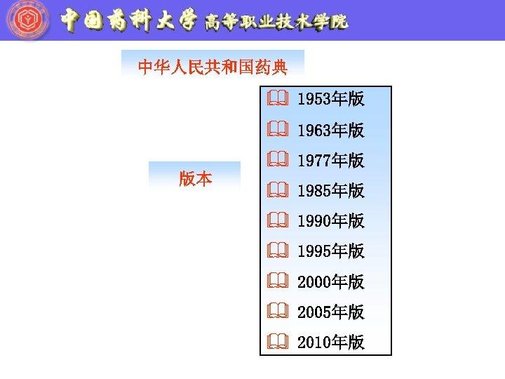 中华人民共和国药典 & 1953年版 & 1963年版 版本 & 1977年版 & 1985年版 & 1990年版 & 1995年版